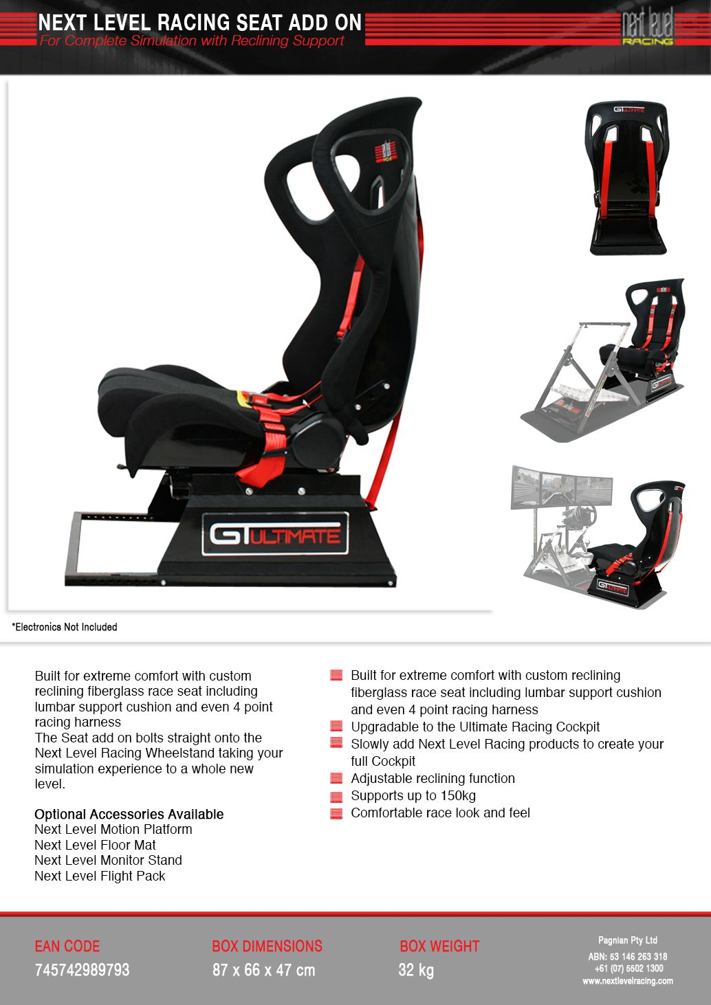 Next Level Racing - Seat Add On | Nordic Game Supply